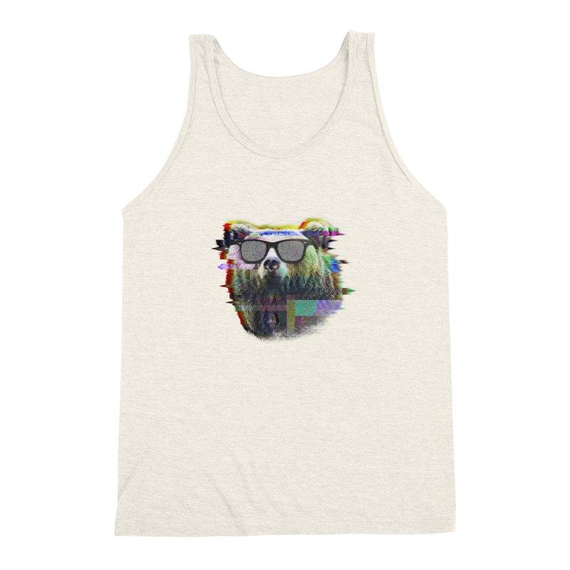Bear Summer Glitch Men's Triblend Tank by sknny