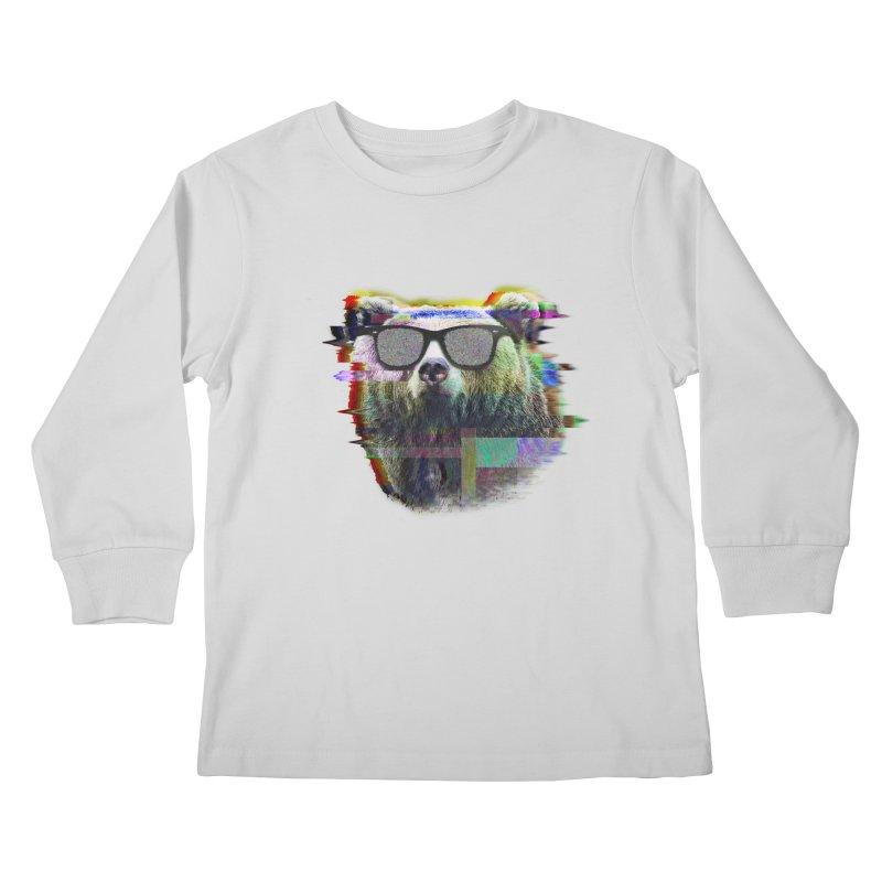 Bear Summer Glitch Kids Longsleeve T-Shirt by sknny