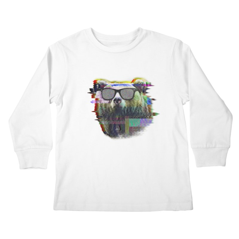 Bear Summer Glitch Kids Longsleeve T-Shirt by sknny
