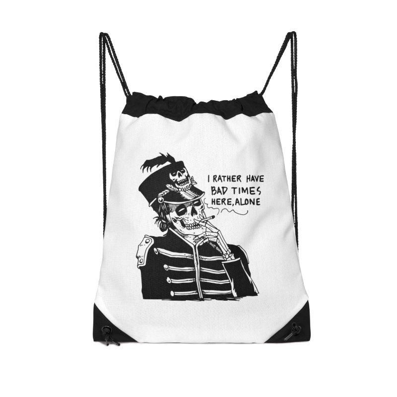 Ridin' Solo On Bad Times Accessories Drawstring Bag Bag by Skullpel Illustrations's Artist Shop