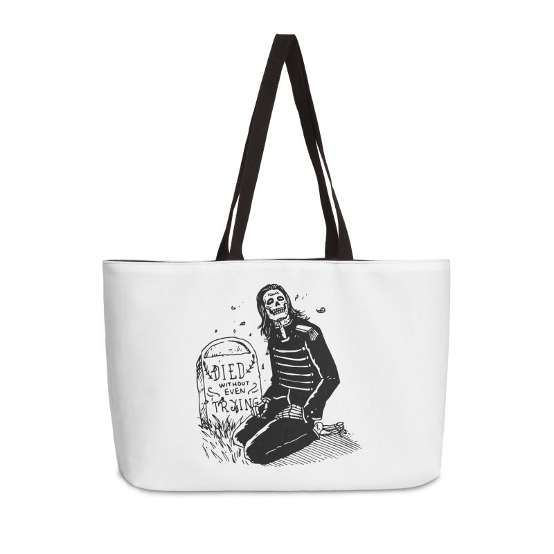 Died Without Even Trying Accessories Weekender Bag Bag by Skullpel Illustrations's Artist Shop