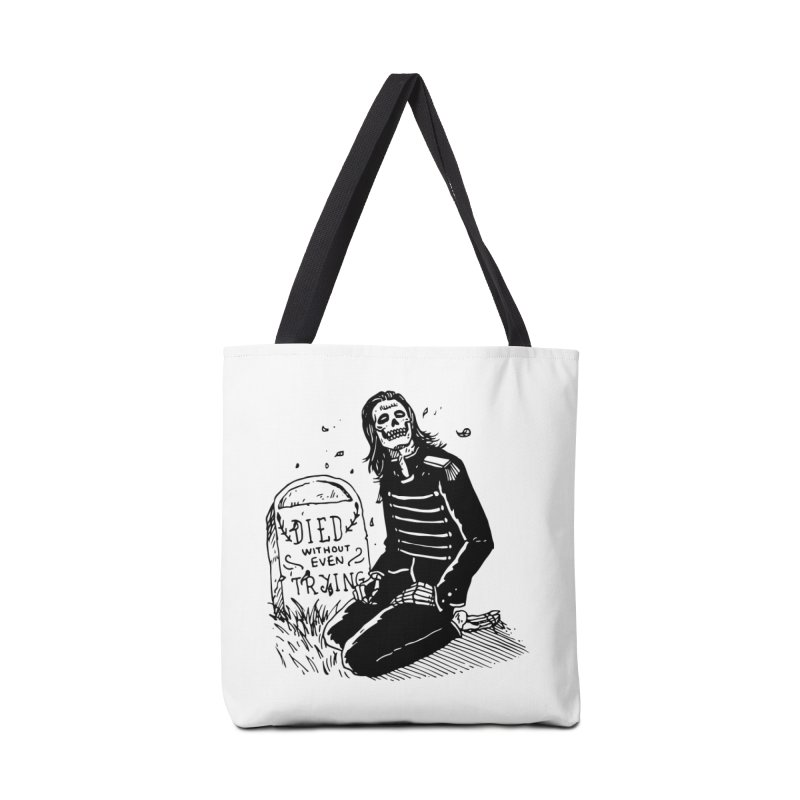 Died Without Even Trying Accessories Tote Bag Bag by Skullpel Illustrations's Artist Shop