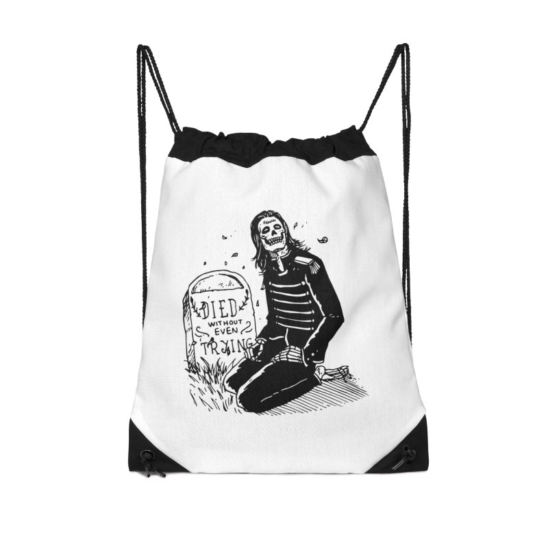 Died Without Even Trying Accessories Drawstring Bag Bag by Skullpel Illustrations's Artist Shop