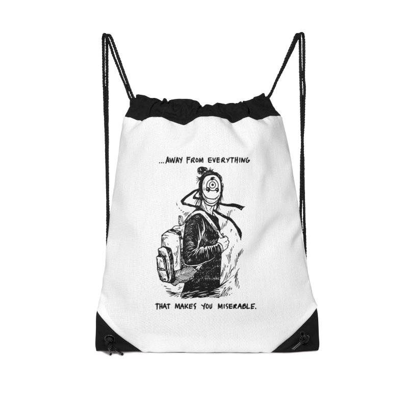 Away From Everything Accessories Drawstring Bag Bag by Skullpel Illustrations's Artist Shop