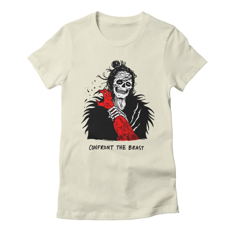 Confront The Beast Women's Fitted T-Shirt by skullpelillustrations's Artist Shop