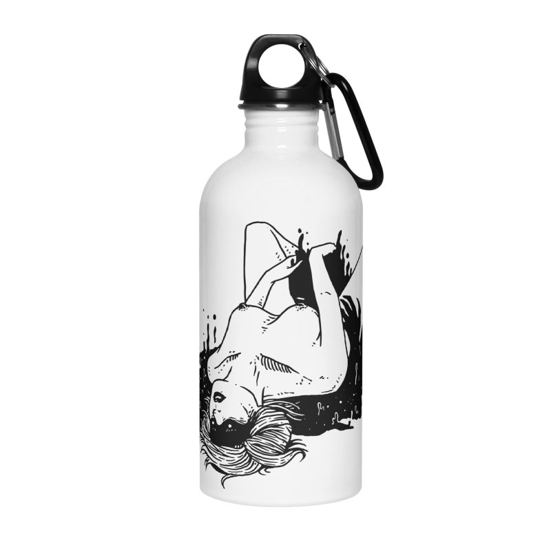 Darkness Comes, So Does She Accessories Water Bottle by skullpel illustrations's Artist Shop