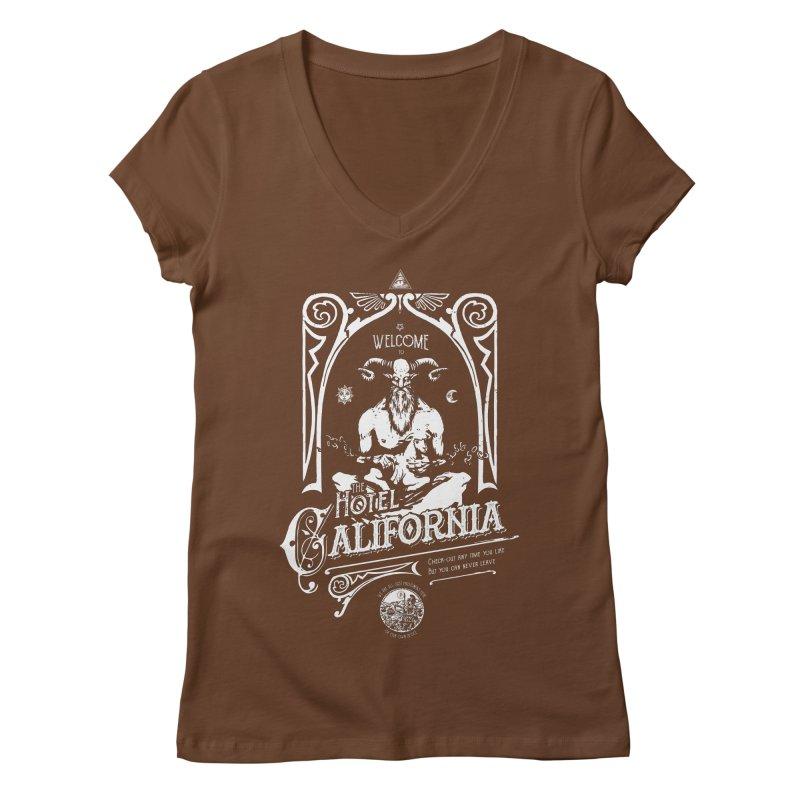 Hotel California Women's Regular V-Neck by Skulls Society