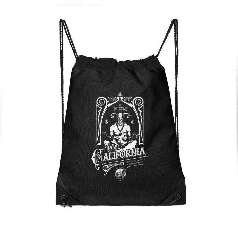 Hotel California Accessories Drawstring Bag Bag by Skulls Society