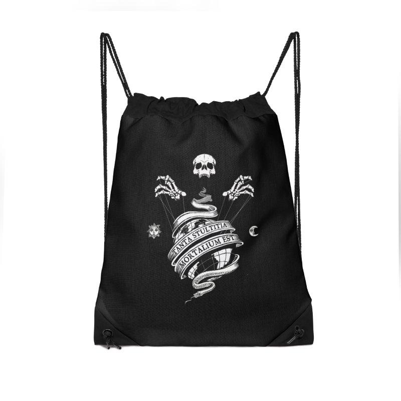 Foolishness of Mortals Accessories Drawstring Bag Bag by Skulls Society