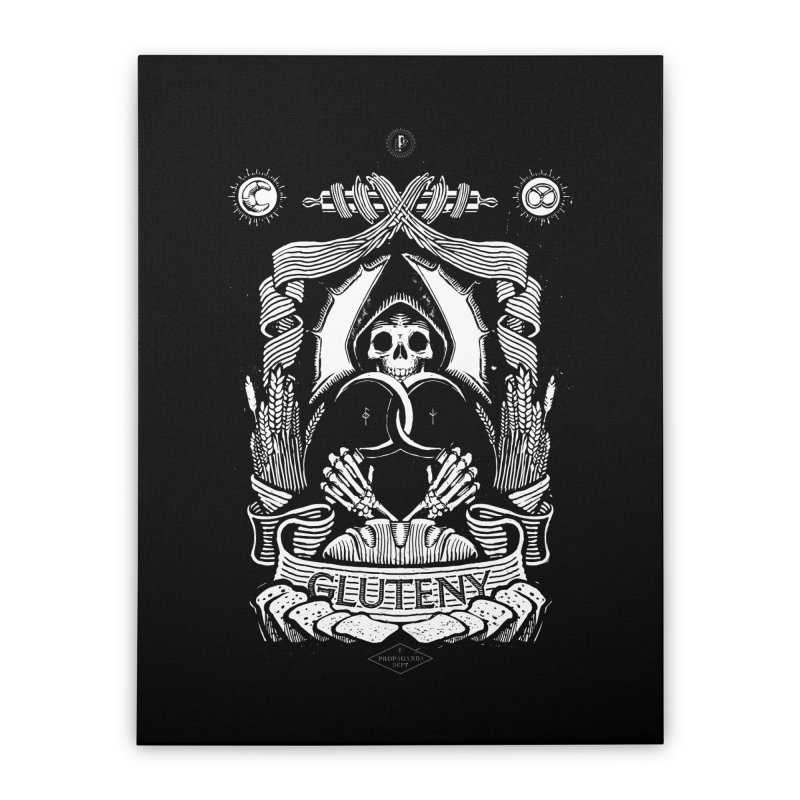 Gluteny Home Stretched Canvas by Skulls Society