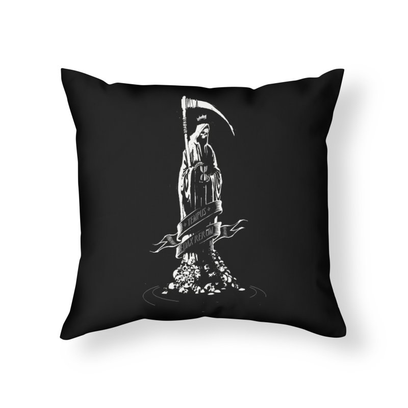 TEMPUS EDAX RERUM Home Throw Pillow by Skulls Society