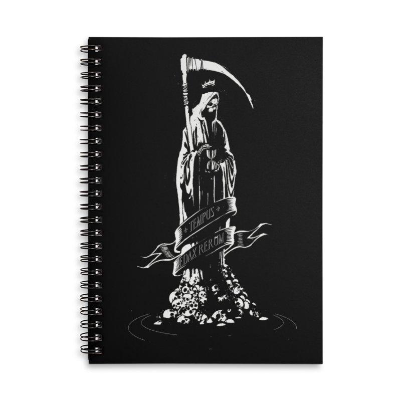 TEMPUS EDAX RERUM Accessories Lined Spiral Notebook by Skulls Society