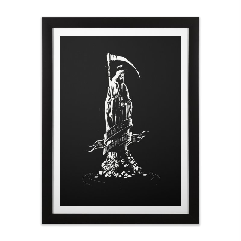TEMPUS EDAX RERUM Home Framed Fine Art Print by Skulls Society