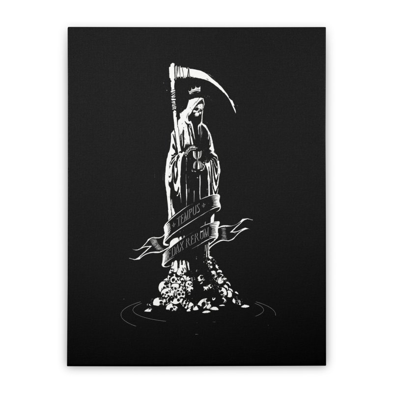 TEMPUS EDAX RERUM Home Stretched Canvas by Skulls Society