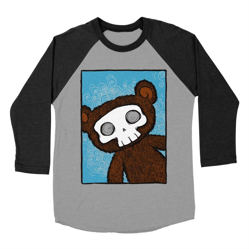 Hello There SkullyBear Men's Baseball Triblend T-Shirt by SkullyFlower's Sweetly Creepy Tees