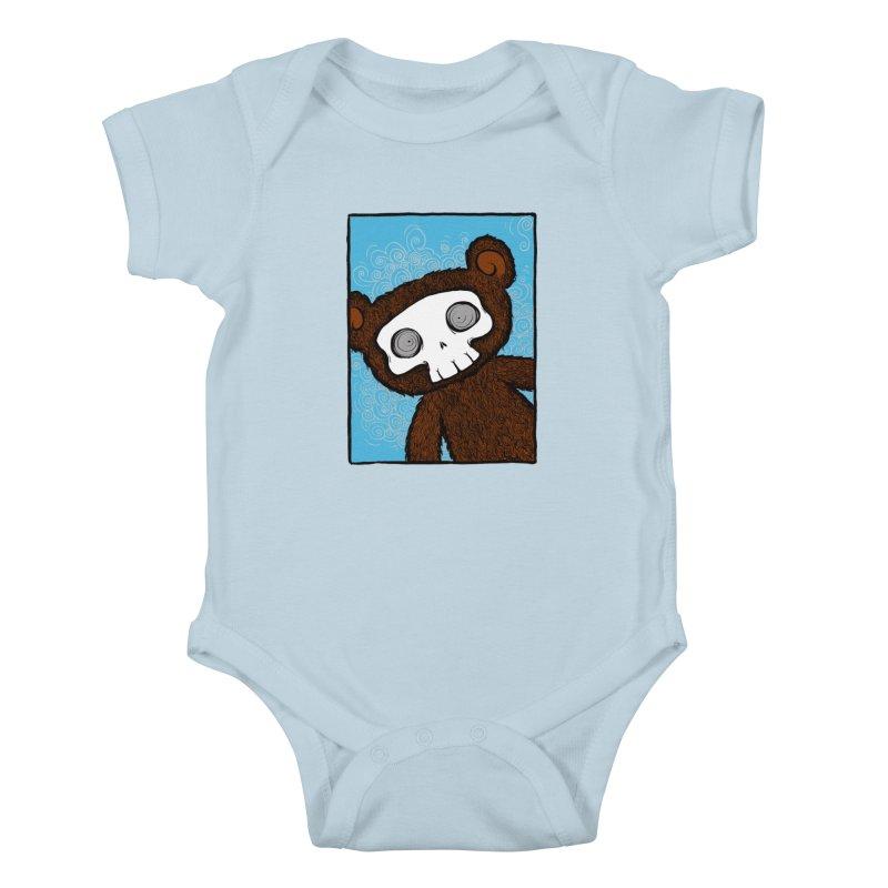 Hello There SkullyBear Kids Baby Bodysuit by SkullyFlower's Sweetly Creepy Tees