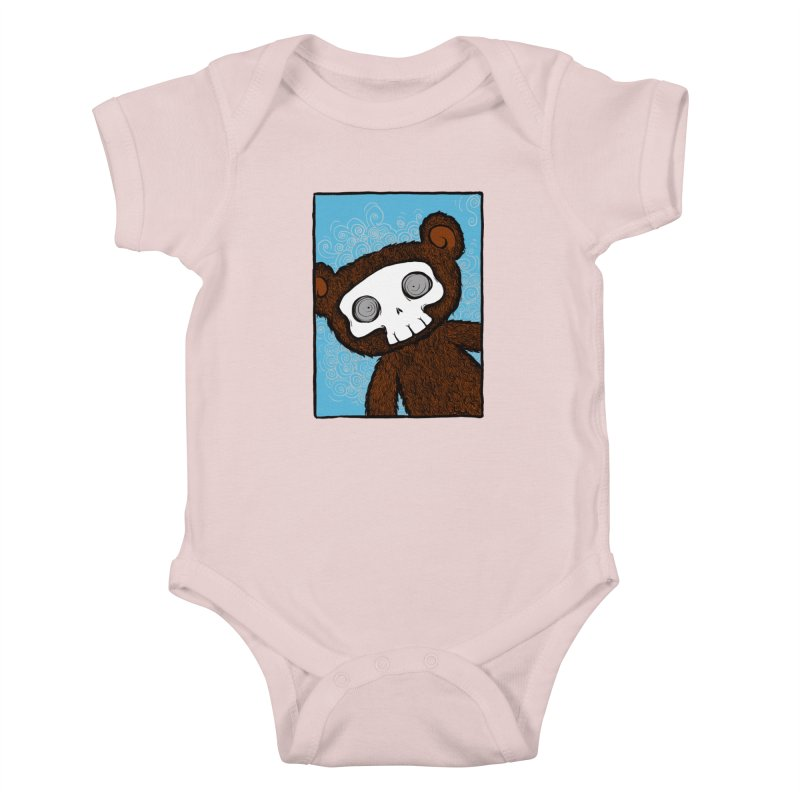 Hello There SkullyBear Kids Baby Bodysuit by SkullyFlower's Sweetly Creepy Tees