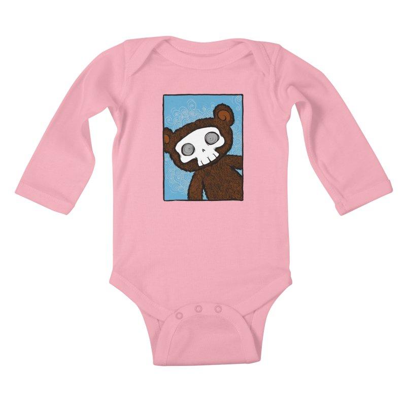 Hello There SkullyBear Kids Baby Longsleeve Bodysuit by SkullyFlower's Sweetly Creepy Tees