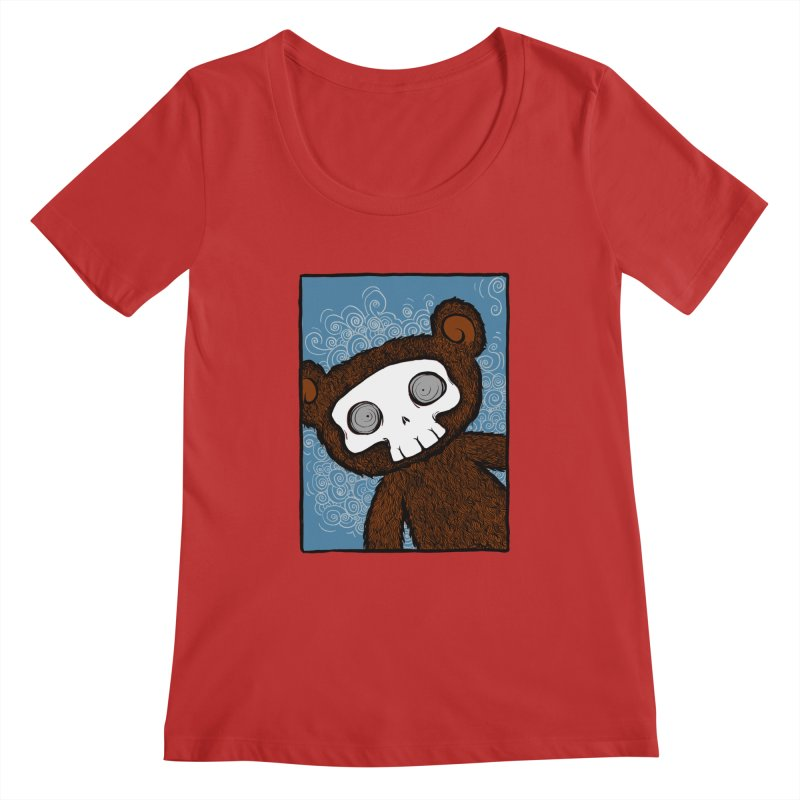 Hello There SkullyBear Women's Scoopneck by SkullyFlower's Sweetly Creepy Tees