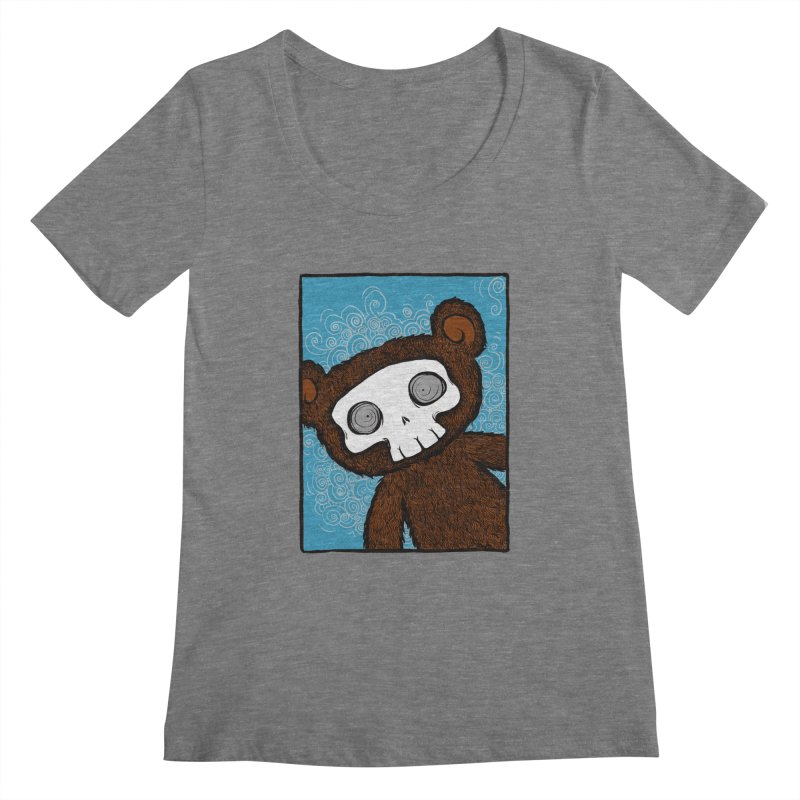 Hello There SkullyBear Women's Regular Scoop Neck by SkullyFlower's Sweetly Creepy Tees