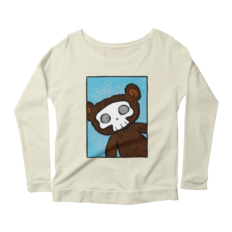 Hello There SkullyBear Women's Scoop Neck Longsleeve T-Shirt by SkullyFlower's Sweetly Creepy Tees