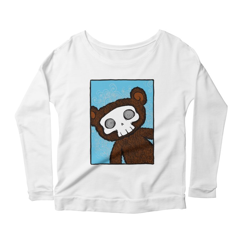 Hello There SkullyBear Women's Longsleeve Scoopneck  by SkullyFlower's Sweetly Creepy Tees