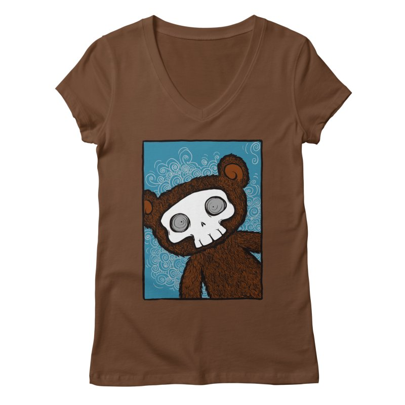 Hello There SkullyBear Women's Regular V-Neck by SkullyFlower's Sweetly Creepy Tees