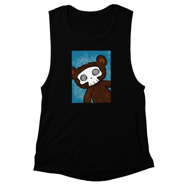 Hello There SkullyBear Women's Muscle Tank by SkullyFlower's Sweetly Creepy Tees