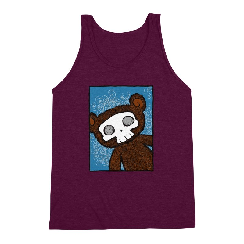 Hello There SkullyBear Men's Triblend Tank by SkullyFlower's Sweetly Creepy Tees