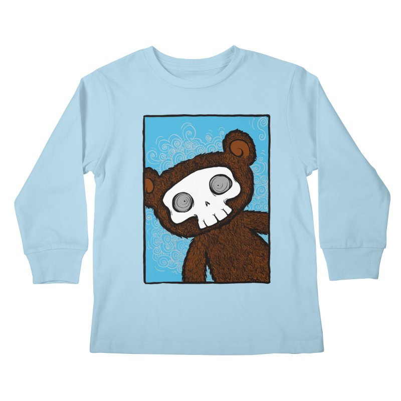 Hello There SkullyBear Kids Longsleeve T-Shirt by SkullyFlower's Sweetly Creepy Tees