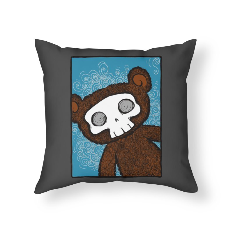Hello There SkullyBear Home Throw Pillow by SkullyFlower's Sweetly Creepy Tees