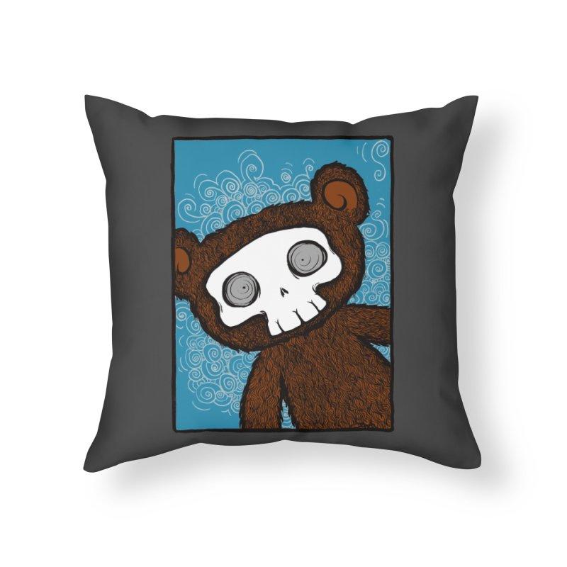 Hello There SkullyBear Home Throw Pillow by SkullyFlower's Sweetly Creepy Tees