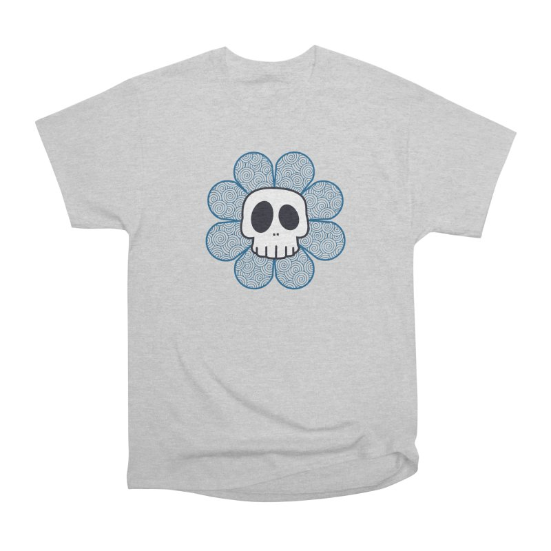 Swirl Skull Flower Men's Heavyweight T-Shirt by SkullyFlower's Sweetly Creepy Tees