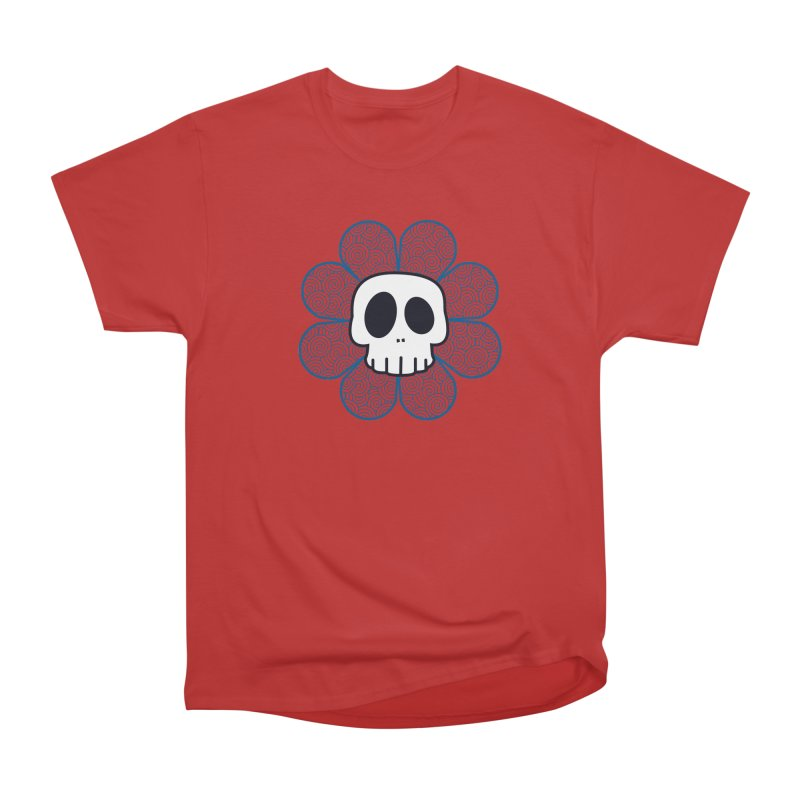 Swirl Skull Flower Women's Heavyweight Unisex T-Shirt by SkullyFlower's Sweetly Creepy Tees
