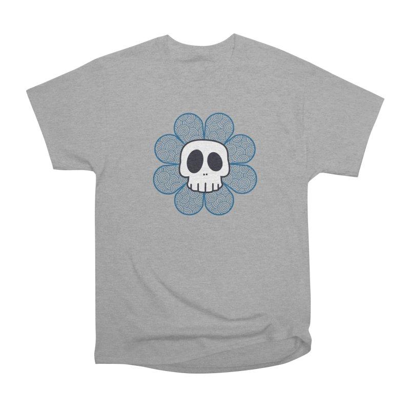 Swirl Skull Flower Women's Heavyweight Unisex T-Shirt by SkullyFlower's Sweetly Creepy Tees