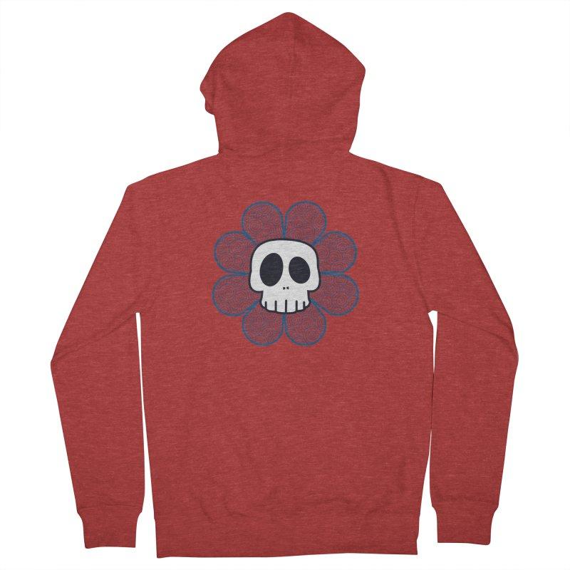 Swirl Skull Flower Men's French Terry Zip-Up Hoody by SkullyFlower's Sweetly Creepy Tees