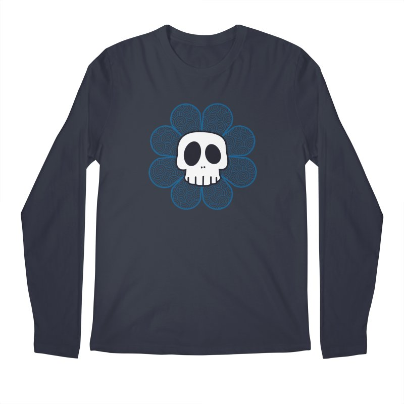 Swirl Skull Flower Men's Regular Longsleeve T-Shirt by SkullyFlower's Sweetly Creepy Tees