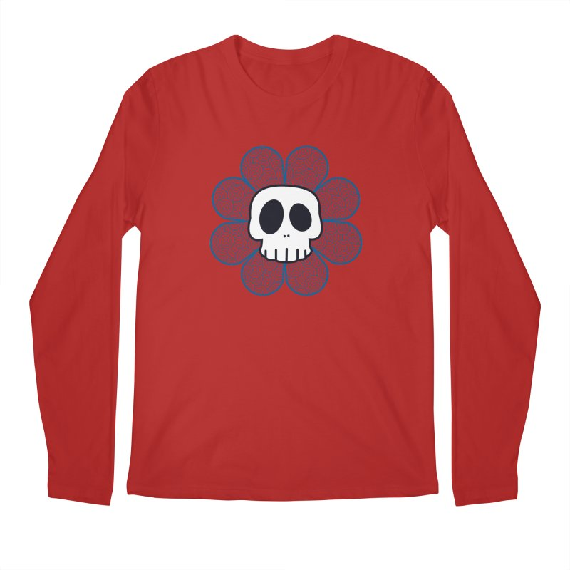 Swirl Skull Flower Men's Longsleeve T-Shirt by SkullyFlower's Sweetly Creepy Tees