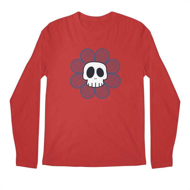 Swirl Skull Flower Men's Regular Longsleeve T-Shirt by SkullyFlower's Sweetly Creepy Tees