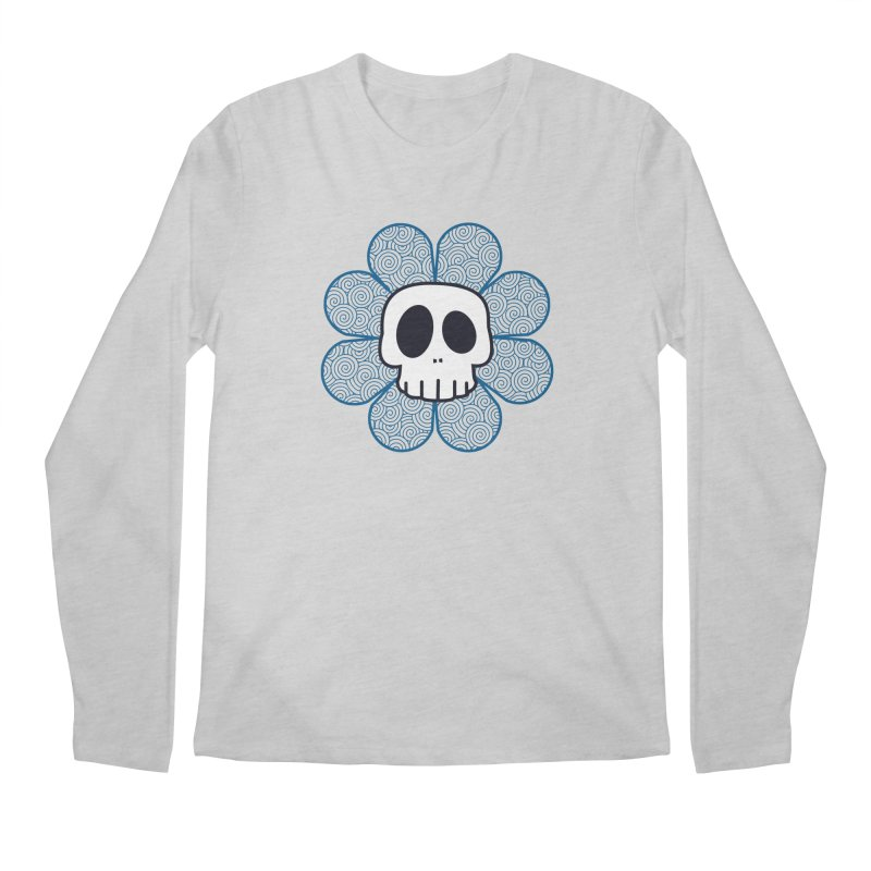Swirl Skull Flower Men's Longsleeve T-Shirt by SkullyFlower's Sweetly Creepy Tees