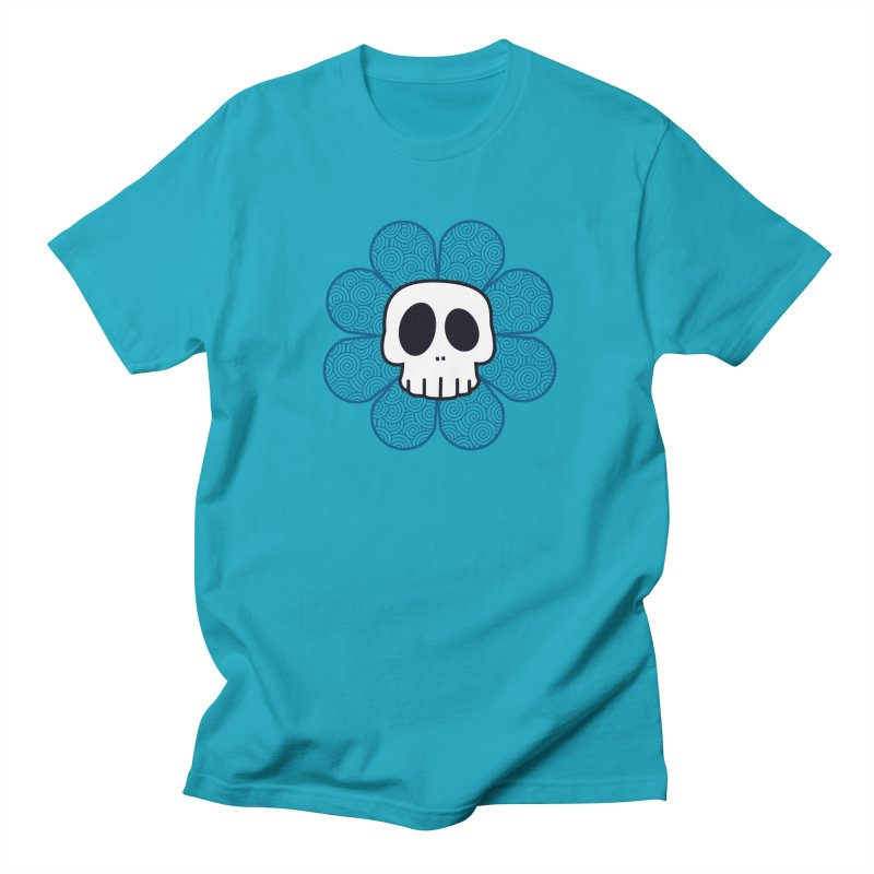 Swirl Skull Flower Men's Regular T-Shirt by SkullyFlower's Sweetly Creepy Tees