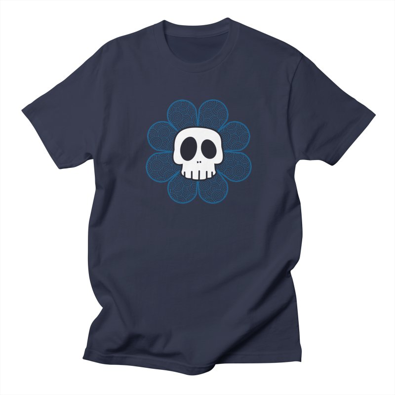 Swirl Skull Flower Men's Regular T-Shirt by SkullyFlower's Sweetly Creepy Tees