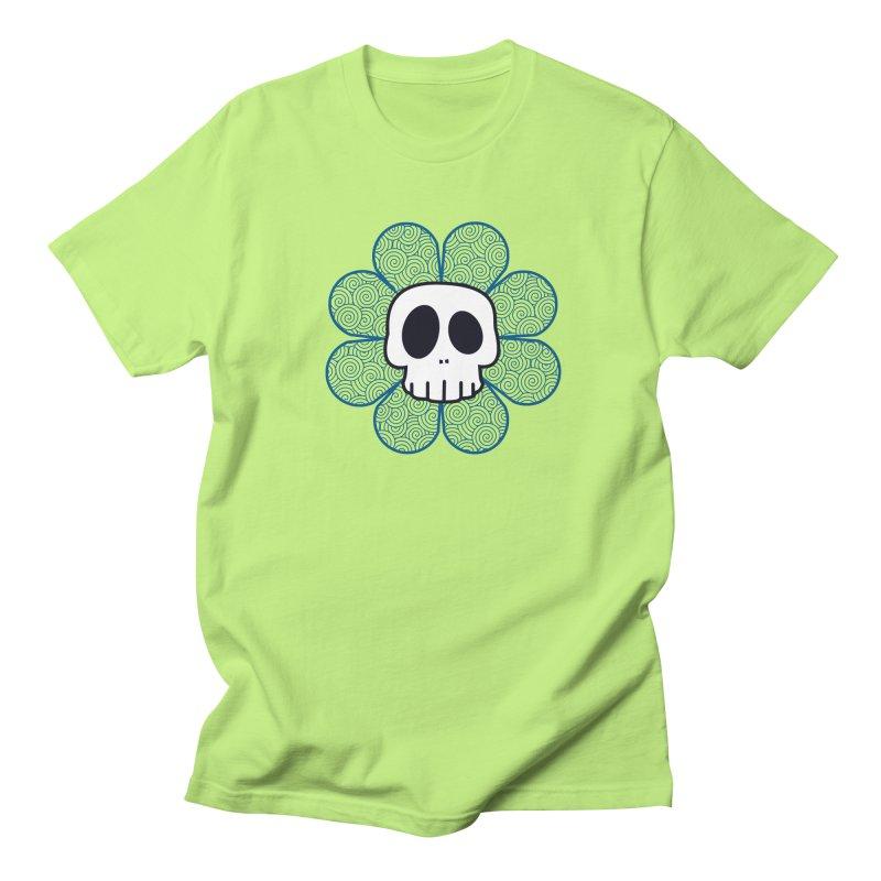 Swirl Skull Flower Men's T-Shirt by SkullyFlower's Sweetly Creepy Tees