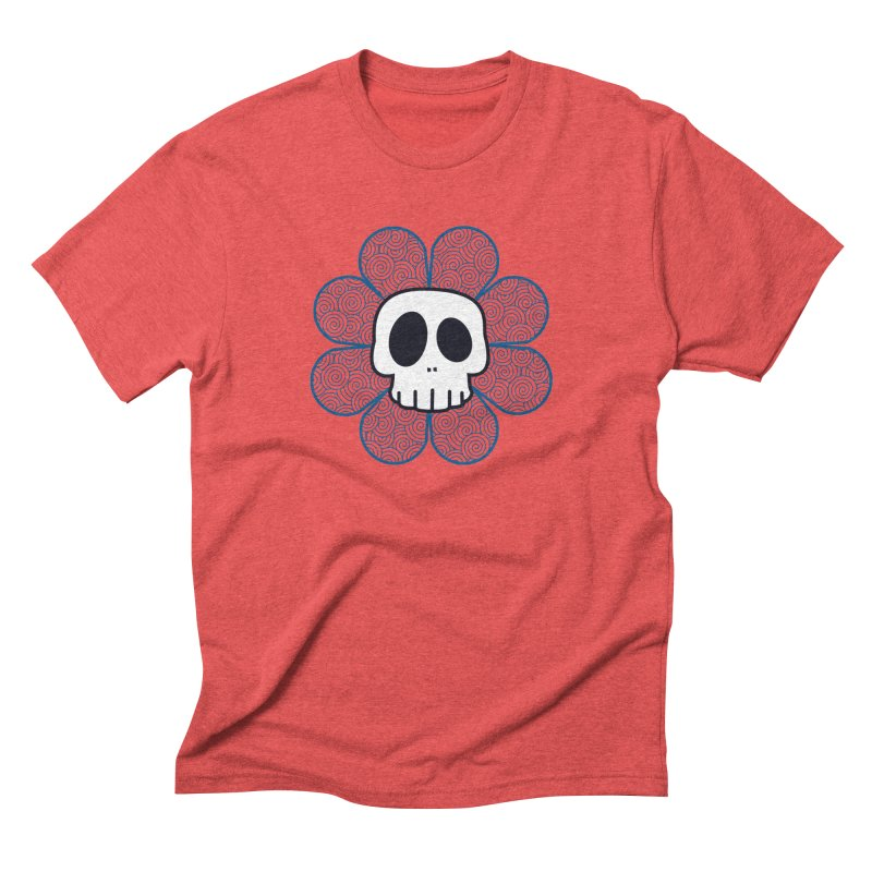 Swirl Skull Flower Men's Triblend T-Shirt by SkullyFlower's Sweetly Creepy Tees