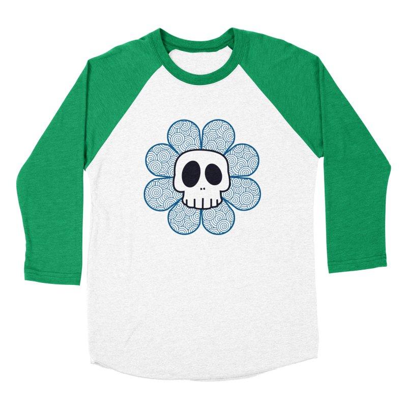 Swirl Skull Flower Women's Baseball Triblend Longsleeve T-Shirt by SkullyFlower's Sweetly Creepy Tees