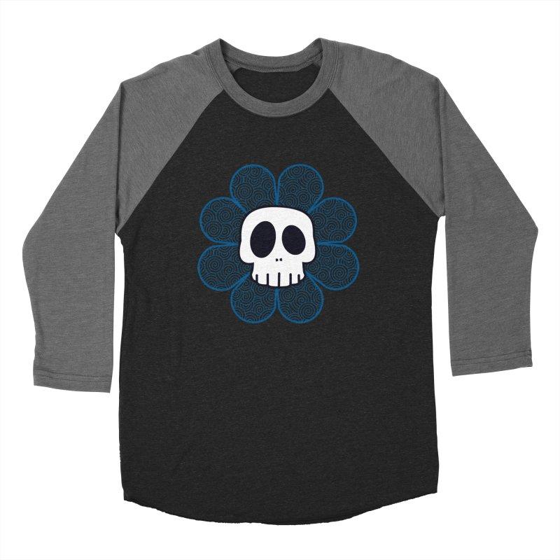 Swirl Skull Flower Women's Baseball Triblend T-Shirt by SkullyFlower's Sweetly Creepy Tees