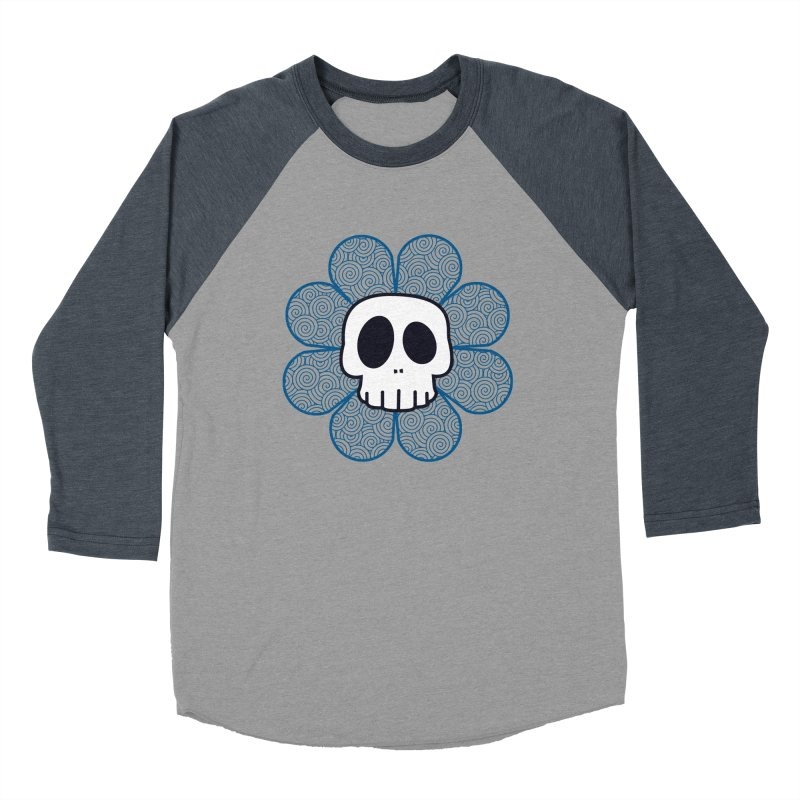 Swirl Skull Flower Women's Baseball Triblend Longsleeve T-Shirt by SkullyFlower's Sweetly Creepy Tees