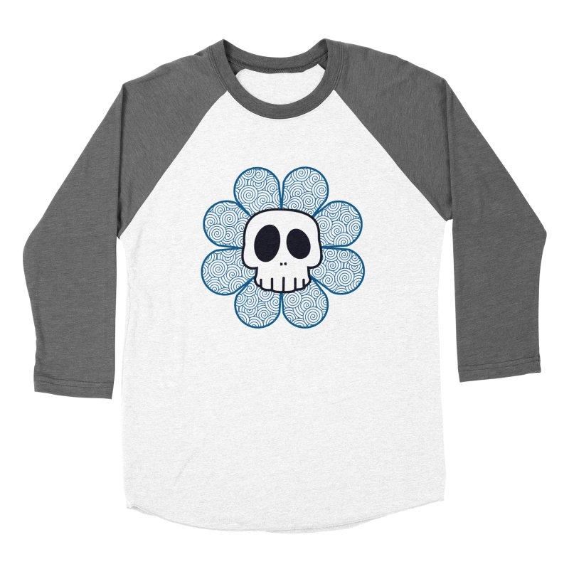 Swirl Skull Flower Men's Baseball Triblend T-Shirt by SkullyFlower's Sweetly Creepy Tees