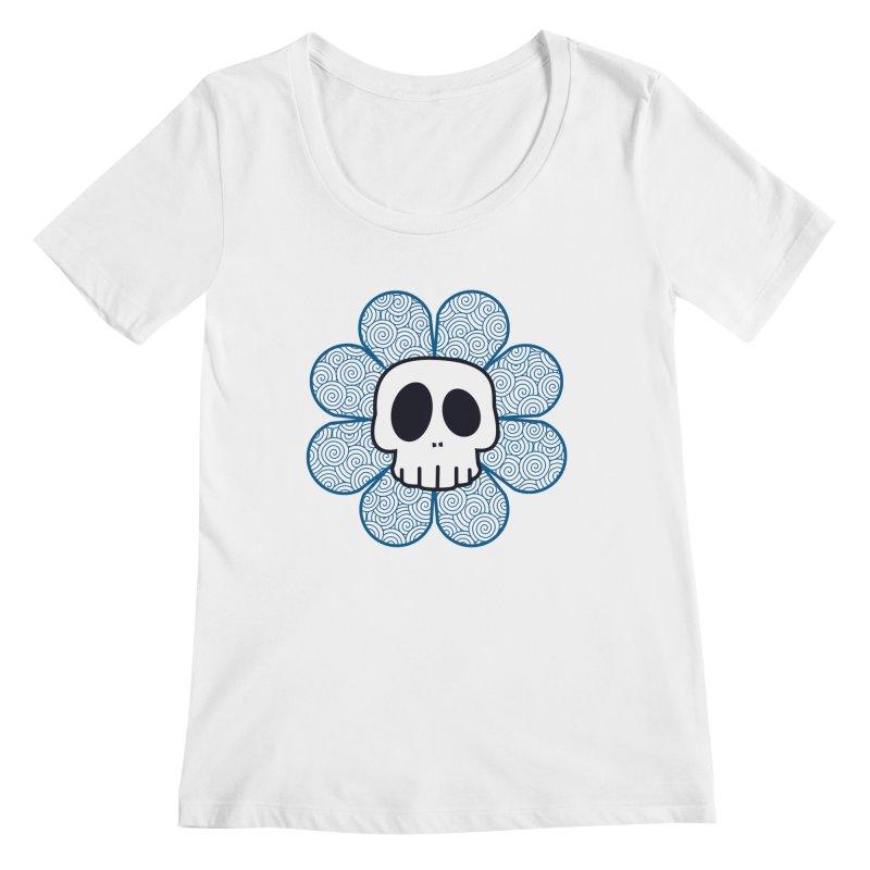 Swirl Skull Flower Women's Regular Scoop Neck by SkullyFlower's Sweetly Creepy Tees