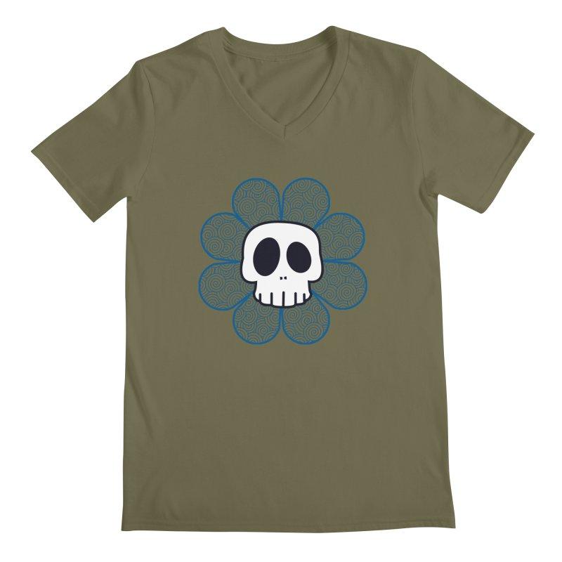 Swirl Skull Flower Men's Regular V-Neck by SkullyFlower's Sweetly Creepy Tees
